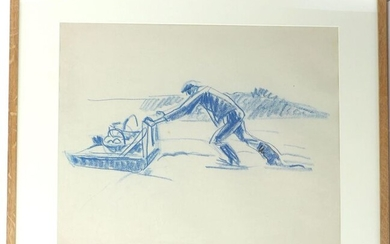 """René-Yves CRESTON (1898-1964) """"Character on a sled"""", drawing in blue grease pencil, unsigned, 40 x 49 cm"""