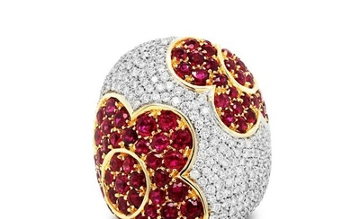 Ruby and Diamond Floral Dome Ring White Gold
