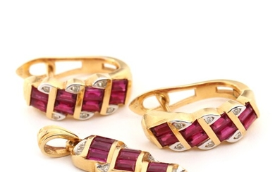 Ruby and diamond pendant and earrings set with numerous baguette-cut rubies and brilliant-cut diamonds, mounted in 18k gold. L. 2.6 and 1.8 cm. 2009. (3)