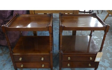 SIDE TABLES, a pair, Georgian style mahogany, two tier, with...
