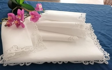 Set 6 cores in pure linen with handmade embroidery - Linen - 21st century