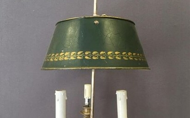Silver plated metal hot water bottle lamp with three lights. Louis XVI style.