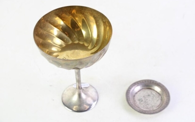 Small Egyptian Silver Dish Dia 7cm Together With A Silver-Plated Goblet Marked Martin H: 15cm