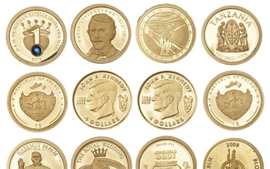 """Small lot consisting of gold coins from the series """"The World's Smallest Gold Coins"""", etc., in total 12 pcs, Au, 6.10 g 999/1000"""