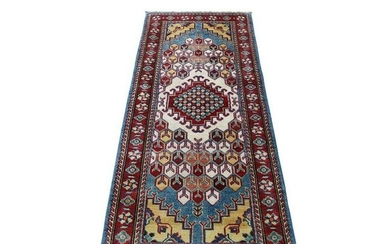 Special Kazak Pure Wool Runner Hand-Knotted Geometric
