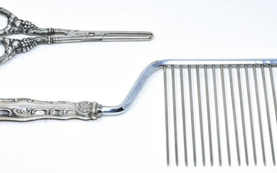 Sterling Silver Handle Comb & Scissors