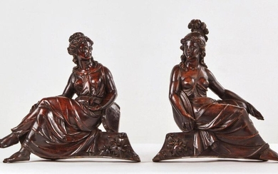 TWO LIBERAL ARTS ALLEGORIES in mahogany and rosewood...