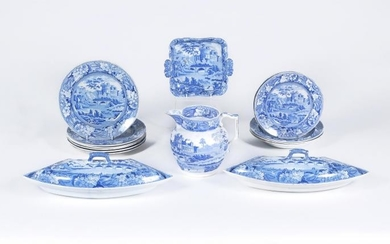 The remnants of a Riley Semi-China blue and white printed dinner service