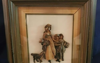 Three Dimensonal Victorian Carved wood, Mother and
