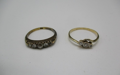 Two 18ct gold rings, each set with diamonds, 4.6g Location: ...