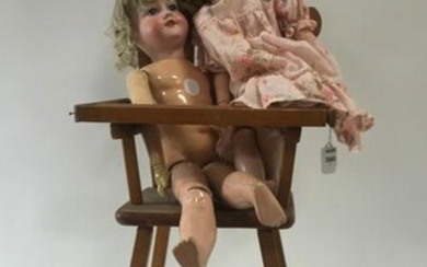 Two Japanese Bisque Head Dolls