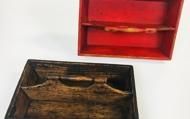 Two Painted Pine Cutlery Trays, lg. 13 1/4 in.