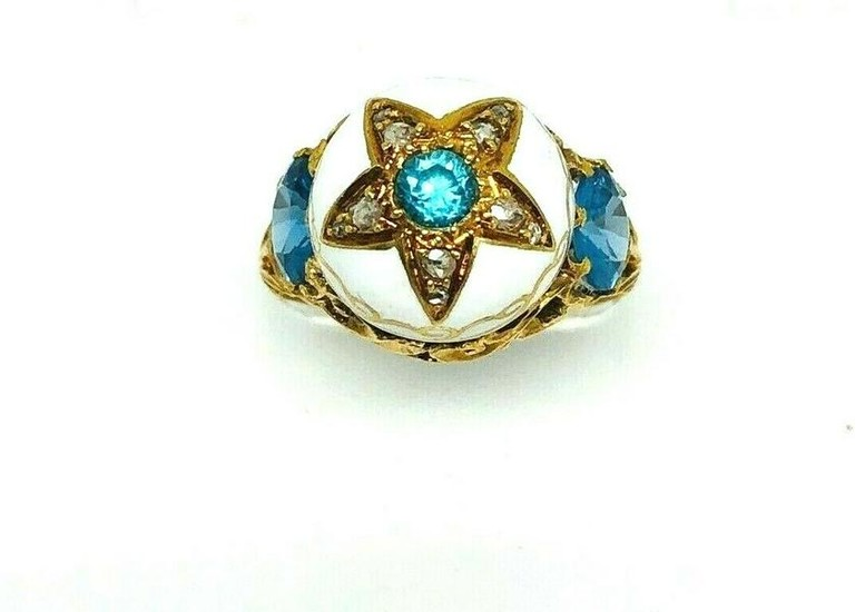VICTORIAN Yellow Gold White Enamel Blue Topaz Rose Cut