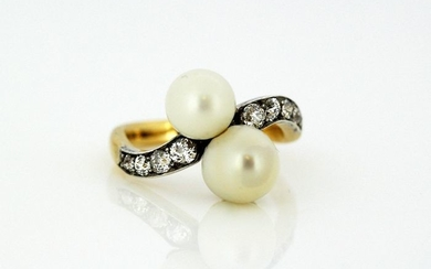Victorian - 15 kt. Freshwater pearls, Yellow gold - Ring - Diamonds