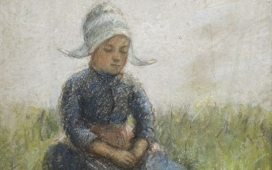 YOUNG GIRL IN THE GRASS, A PASTEL BY ROBERT